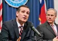Ted Cruz and Greg Abbott joint press conference in Texas. Cruz questioned the Pentagon over a military training exercise that some conspiracy theorists feared was an invasion. (Provided)