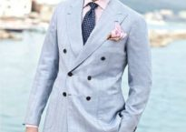 Note the patch-pocket blazer with a glen-check pattern (a type of squarish weaving that allows for more air to penetrate the fabric). Additionally note the lighter, more pastel shirt color and blazer color contrasted with bright white—only after Labor Day, of course. (Image provided)